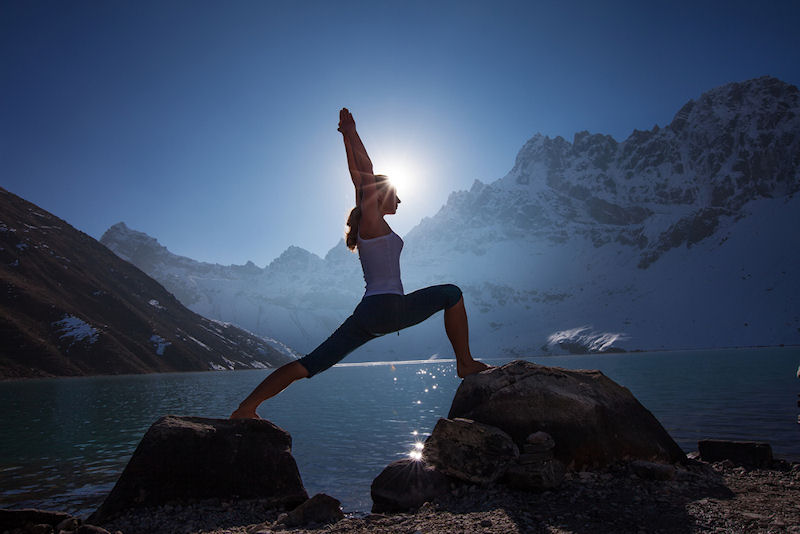 Image result for warrior yoga pose at sunrise